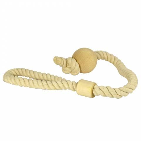 М'яч на мотузці для собак, бавовна / дерево (6см / 60сми)