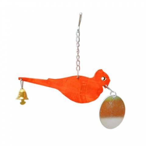 Пташка на ланцюжку з дзвоником і дзеркальцем