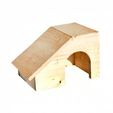 Дом с покатой крышей для шиншилл, морских свинок (22 х 16 х 16)