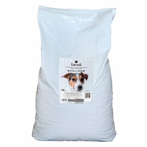 ГАВЧИК корм для дрібних та середніх собак, курка + ягня 10кг